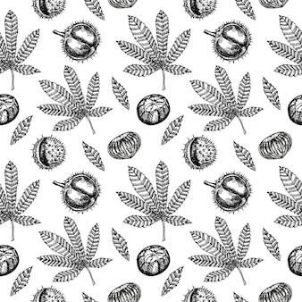 Каштаны бесшовные модели. бесшовный фон с листьями и плодами каштана.