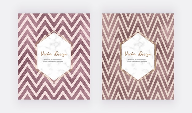 Chevron rose gold foil lines backgrounds with marble frame. geometric template.