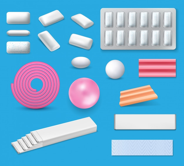 Chewing bubble gum and bubblegum realistic mockups