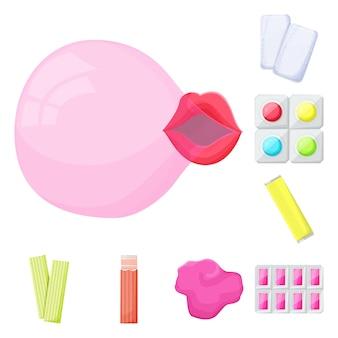 Набор элементов мультфильм свежести жевательной резинки. изолированных иллюстрация жевательная резинка. элементы набора жевательной резинки и пузыря.