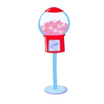 조각 상품 발렌타인 데이 판매를위한 하트 자판기가있는 껌 기계