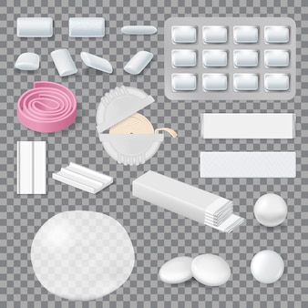 Chewing gum mockups, stripes, tablets in blister pack and roll in container