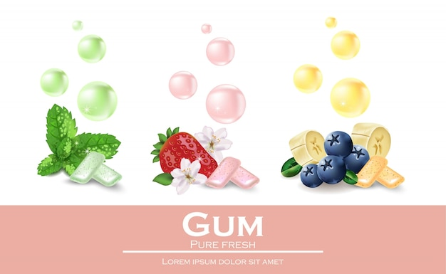 Chewing gum set with different flavours