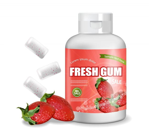 Chewing gum strawberry flavor