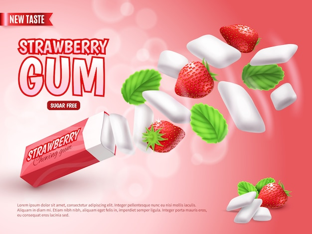 Chewing gum with strawberry and green leaves on blurred red gradient  advertising composition realistic
