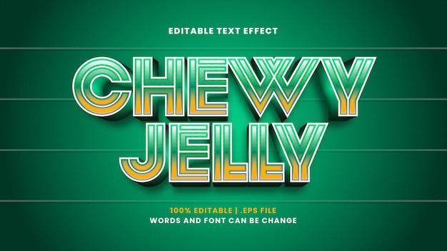 Редактируемый текстовый эффект жевательного желе в современном 3d стиле