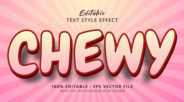 Chewy text on headline poster style effect, editable text effect