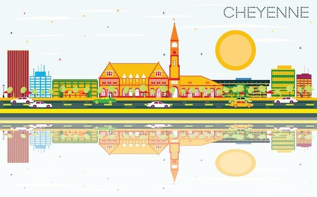 색상 건물, 푸른 하늘 및 반사와 샤이엔 스카이 라인. 벡터 일러스트 레이 션. 비즈니스 여행 및 관광 개념입니다. 프레젠테이션 배너 현수막 및 웹사이트용 이미지.