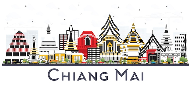 Chiang mai thailand city skyline with color buildings isolated on white. vector illustration. business travel and tourism concept with modern architecture. chiang mai cityscape with landmarks.