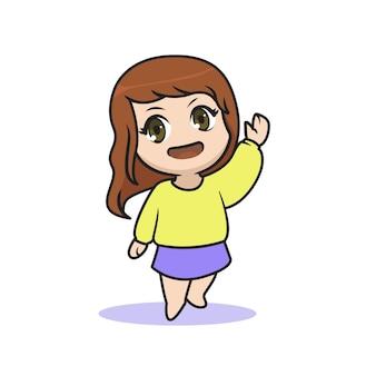 ちびカワイイ女の子が手のポーズを振る