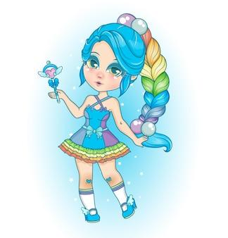 Chibi rainbow style girl blue color