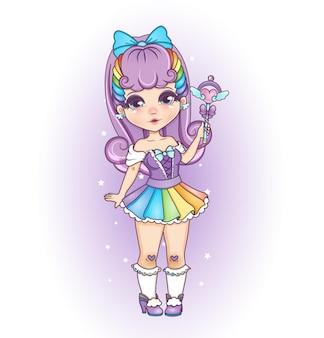꼬마 무지개 스타일 소녀 바이올렛 색상