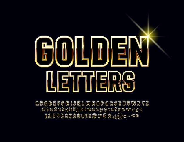 Chic bright font black and golden alphabet letters numbers and symbols