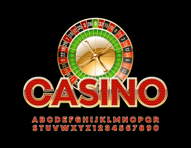 Chic emblem casino with roulette wheel. royal red and golden alphabet letters and numbers. luxury stylish font