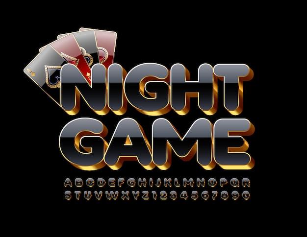 Шикарная эмблема night game. роскошный черный и золотой 3d шрифт. стильные буквы и цифры алфавита