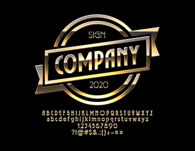 Chic golden shiny emblem company 럭셔리 프로모션 사인