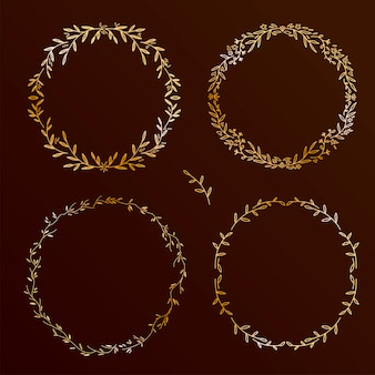 Chic  hand drawn elements set. floral wreaths collection, round  frames collection on black