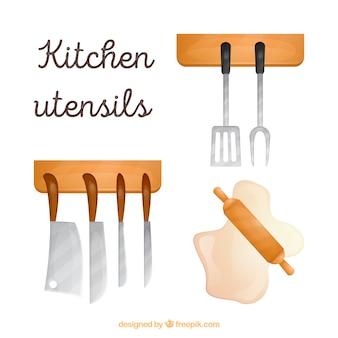 Chic hand drawn kitchen utensils