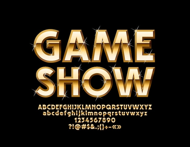 シックなロゴゲームショー。ゴールデンアルファベットの文字、数字、記号。豪華な光沢のあるフォント。