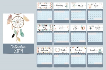 Шикарный ежемесячный календарь с ловцом снов