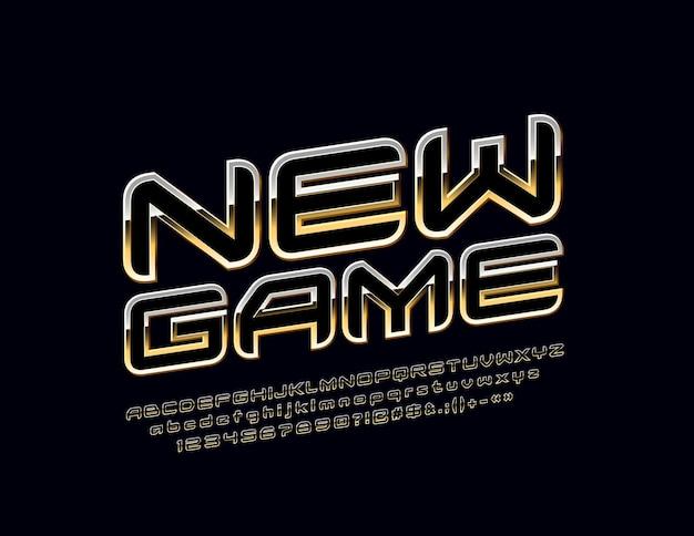 세련된 새 게임. 회전 된 독점 알파벳 문자, 숫자 및 기호. golden chic 글꼴