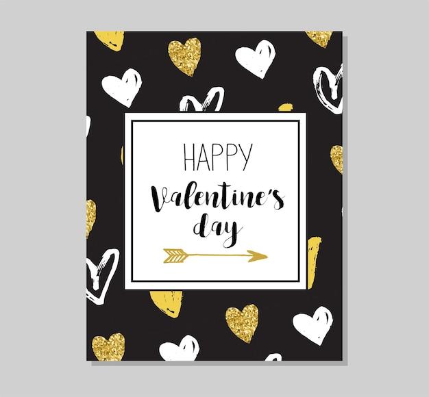 シックなパーティーキラキラグリーティングカードと招待状。ゴールドハート、吹き出し、星、その他の要素