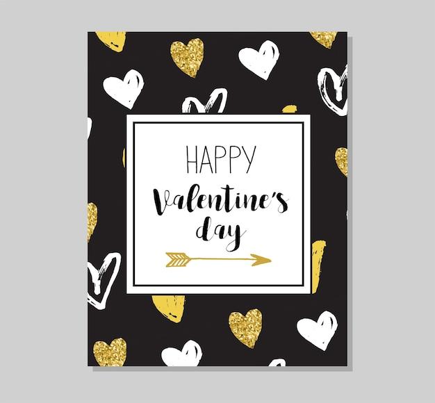 Поздравительная открытка с блестками chic party и приглашение. золотые сердца, пузыри речи, звезды и другие элементы.