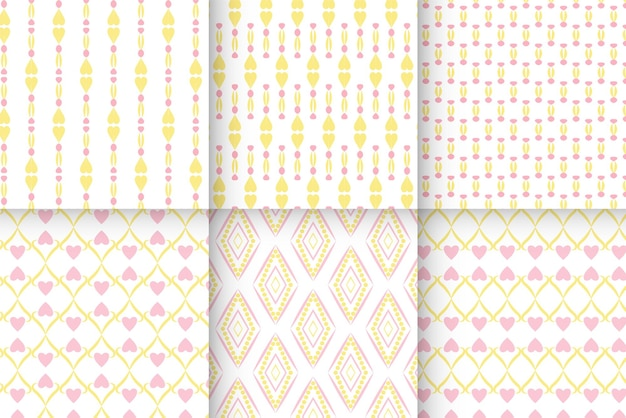 Chic pink and yellow heart pattern