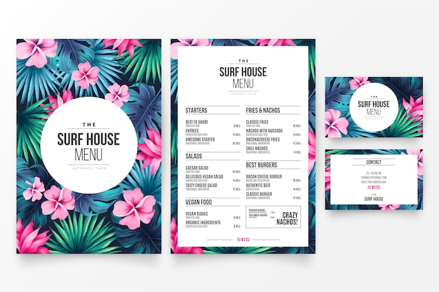 Chic restaurant menu template with floral tropical theme