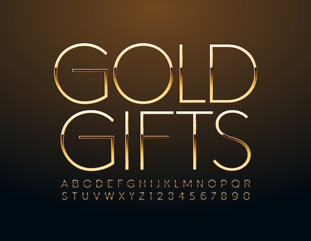 Chic sign gold gift. golden slim font. luxury alphabet letters and numbers