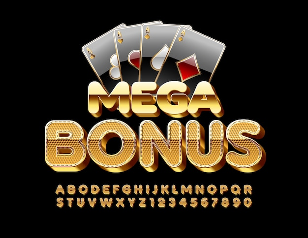 Chic sign mega bonus with playing cards. textured gold font. elite 3d alphabet letters and numbers