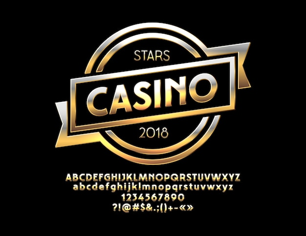 Chic sign stars casino with elite alphabet letters and numbers chic gold modern font