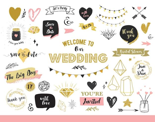 세련된 결혼식. 골드 하트, 연설 거품, 별 및 기타 요소.
