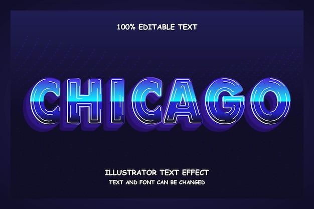 Чикаго, синяя градация, 3d редактируемый текст, современный стиль