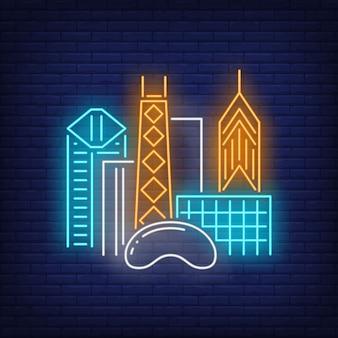 시카고 도시 건물 및 클라우드 게이트 네온 사인. 관광, 관광, 여행.