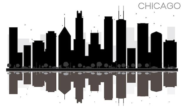 Город чикаго на фоне линии горизонта черно-белый силуэт с отражениями. векторная иллюстрация. простая плоская концепция для туристической презентации, баннера, плаката или веб-сайта. городской пейзаж с достопримечательностями.