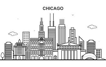 Chicago City Tour Cityscape Skyline Line Outline