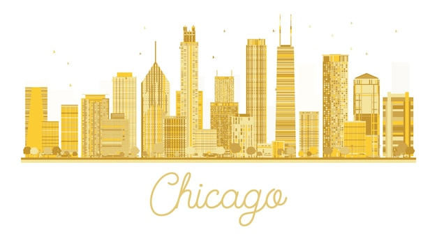 Chicago golden silhouette isolated on white background. vector illustration.
