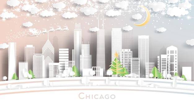 Горизонты города чикаго иллинойс сша в стиле вырезки из бумаги со снежинками, луной и неоновой гирляндой. векторные иллюстрации. рождество и новый год концепция. дед мороз на санях.