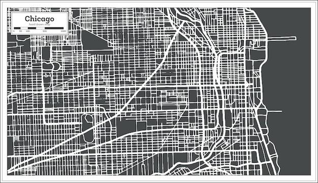 レトロなスタイルのシカゴイリノイusaマップ。ベクトルイラスト。白地図。