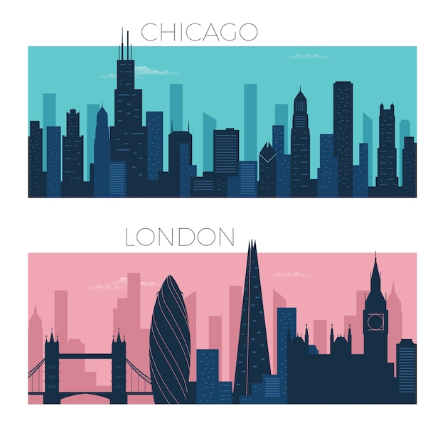 Chicago and london city skyline
