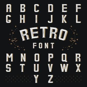 Alfabeto retrò di chicago. stile abc, lettera e carattere, simbolo della lingua