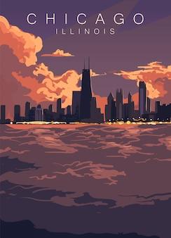 Чикаго скайлайн постер. сша, закат иллинойс в городе чикаго