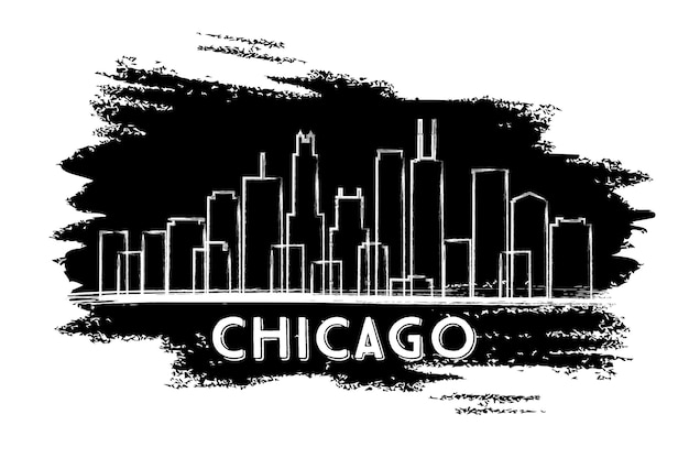 Chicago skyline silhouette. hand drawn sketch. business travel and tourism concept with historic architecture. image for presentation banner placard and web site. vector illustration.