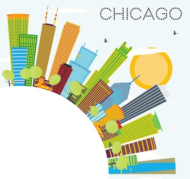 色の建物とコピースペースのあるシカゴのスカイライン。ベクトルイラスト。近代建築とビジネス旅行と観光の概念。プレゼンテーションバナープラカードとwebサイトの画像。