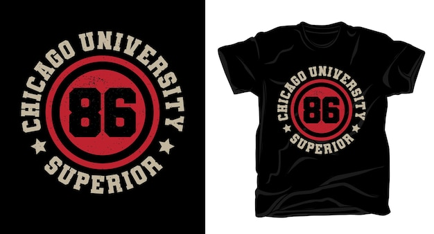 Дизайн футболки типографики восемьдесят шесть чикагского университета