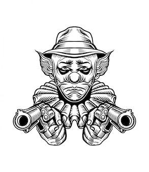 Chicano clown gun vector illustration