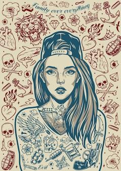 Татуировка чикано создает винтажный постер с красивой девушкой в кепке