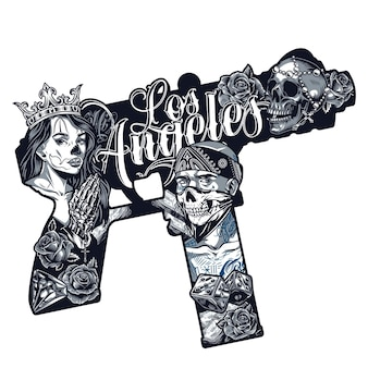 Chicano tattoo vintage concept in machine pistol shape with pretty girl in crown gangster in bandana and scary mask skeleton hands holding rosary skull dice flowers isolated vector illustration