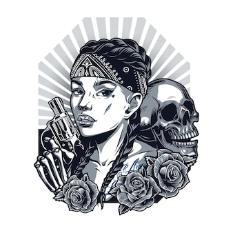 Chicano tattoo vintage template with pretty girl in bandana skull skeleton hand holding revolver and roses in monochrome style isolated vector illustration